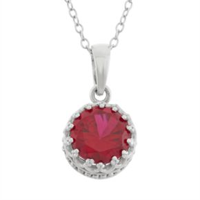 Tiara Lab-Created Ruby Sterling Silver Pendant Necklace