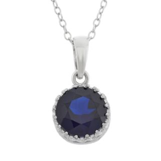 Tiara Lab-Created Sapphire Sterling Silver Pendant Necklace