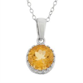 Tiara Citrine terling Silver Pendant Necklace