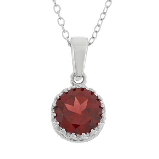 Tiara Garnet Sterling Silver Pendant Necklace