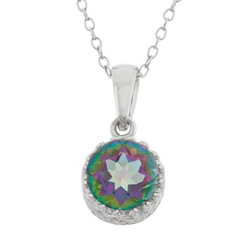 Tiara Rainbow Quartz Sterling Silver Pendant Necklace