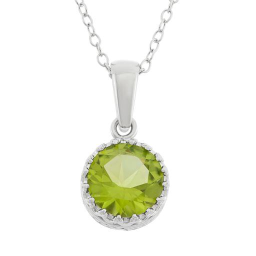 Tiara Peridot Sterling Silver Pendant Necklace