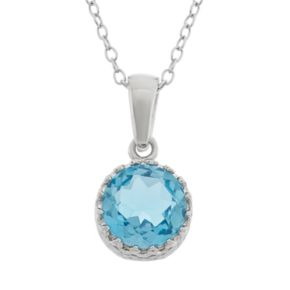 Tiara Blue Topaz Sterling Silver Pendant Necklace