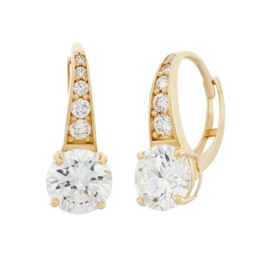 Cubic Zirconia 10k Gold Graduate Drop Earrings