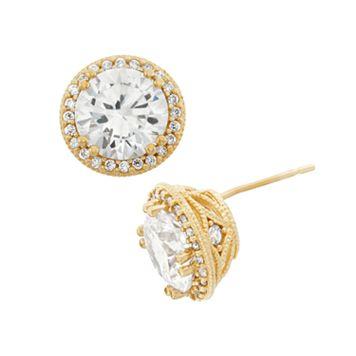Cubic Zirconia 10k Gold Halo Stud Earrings