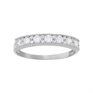 Cubic Zirconia Wedding Ring in 10k White Gold