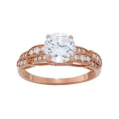 Cubic Zirconia Engagement Ring in 10k Rose Gold