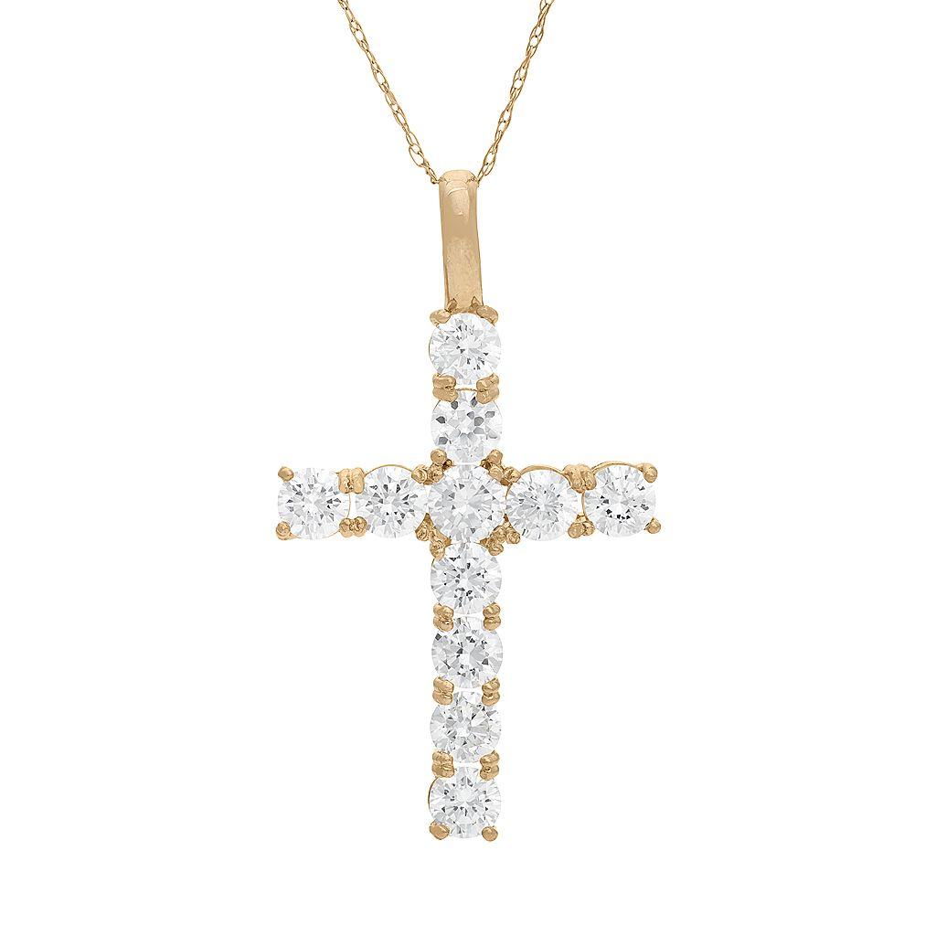 Cubic Zirconia 10k Gold Cross Pendant Necklace
