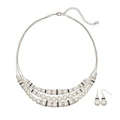 Multistrand Necklace & Drop Earring Set
