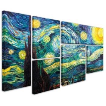 """Starry Night"" 6-piece Canvas Wall Art Set by Vincent van Gogh"