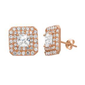 Cubic Zirconia 10k Gold Square Stud Earrings