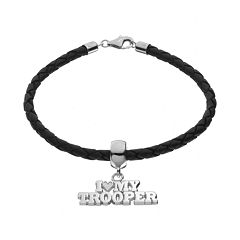 Insignia Collection Sterling Silver & Leather 'I Love My Trooper' Bracelet