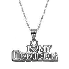 Insignia Collection Sterling Silver 'I Love My Officer' Pendant Necklace