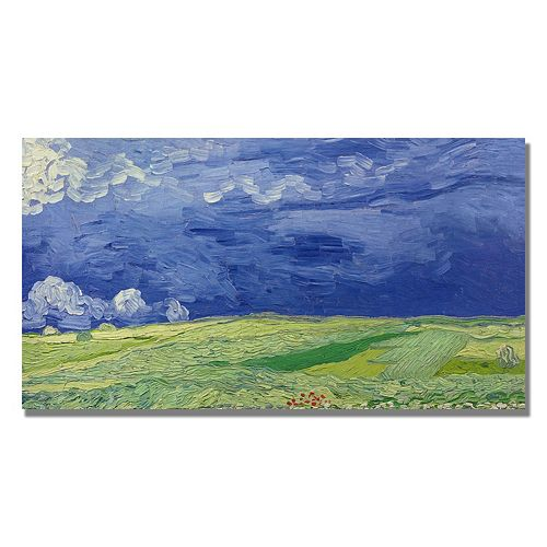 Wheatfields Under Thundercloud Canvas Wall Art by Vincent van Gogh
