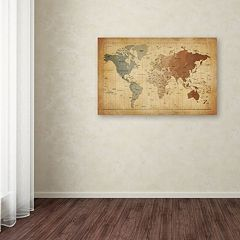 'Time Zones Map of the World' Canvas Wall Art