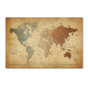 """""""Time Zones Map of the World"""" Canvas Wall Art"""
