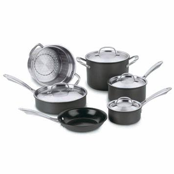 Cuisinart 10-pc. Green Gourmet Hard-Anodized Nonstick Cookware Set