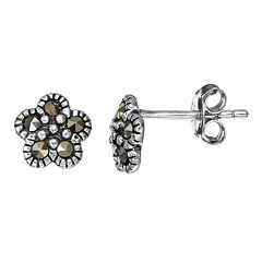 Tori Hill Marcasite Sterling Silver Flower Stud Earrings