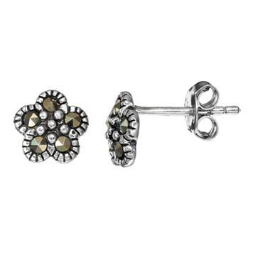 Tori Hill Marcasite Sterling Silver Flower Stud Earrings