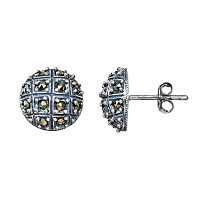Tori Hill Marcasite Sterling Silver Button Stud Earrings