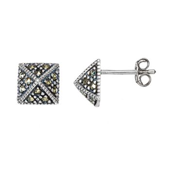 Tori Hill Marcasite Sterling Silver Pyramid Stud Earrings