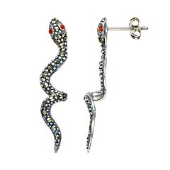 Tori Hill Marcasite Sterling Silver Snake Drop Earrings