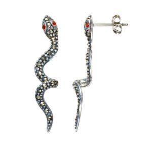 Tori Hill Marcasite Sterling Silver Snake Drop Earrings