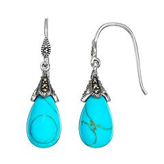 Tori Hill Simulated Turquoise & Marcasite Sterling Silver Teardrop Earrings