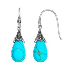 Tori Hill Simulated Turquoise and Marcasite Sterling Silver Teardrop Earrings