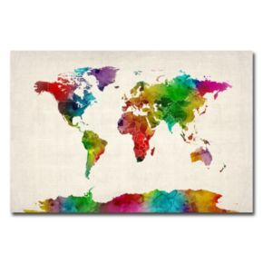 """""""Water Color World Map II"""" Canvas Wall Art"""