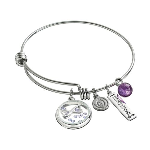 "love this life Crystal & Amethyst Stainless Steel ""Friends Forever"" Charm Bangle Bracelet"