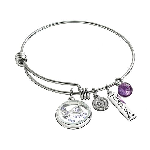 """love this life Crystal & Amethyst Stainless Steel """"Friends Forever"""" Charm Bangle Bracelet"""