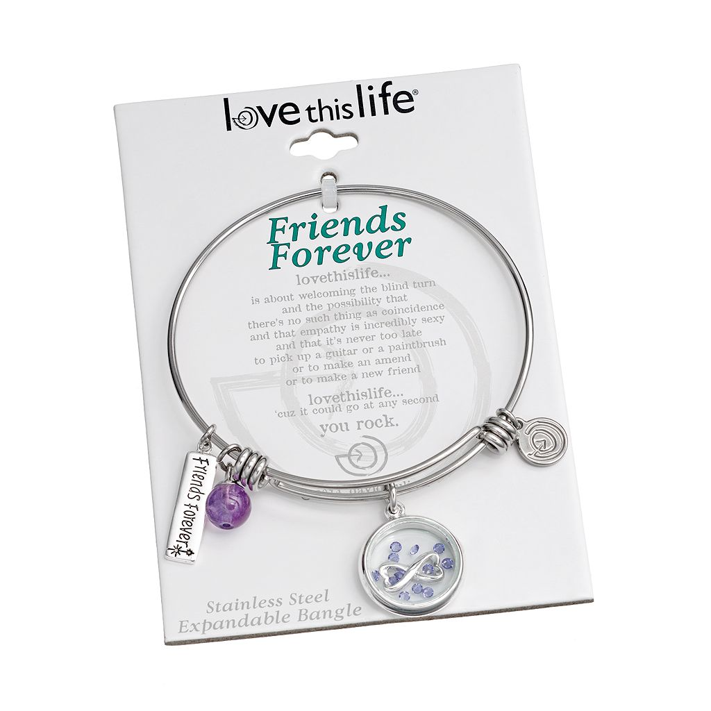 love this life Crystal and Amethyst Stainless Steel ''Friends Forever'' Charm Bangle Bracelet