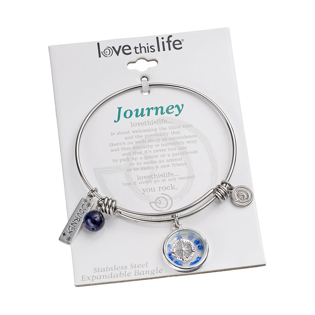 love this life Crystal and Sodalite Stainless Steel ''Journey'' Charm Bangle Bracelet