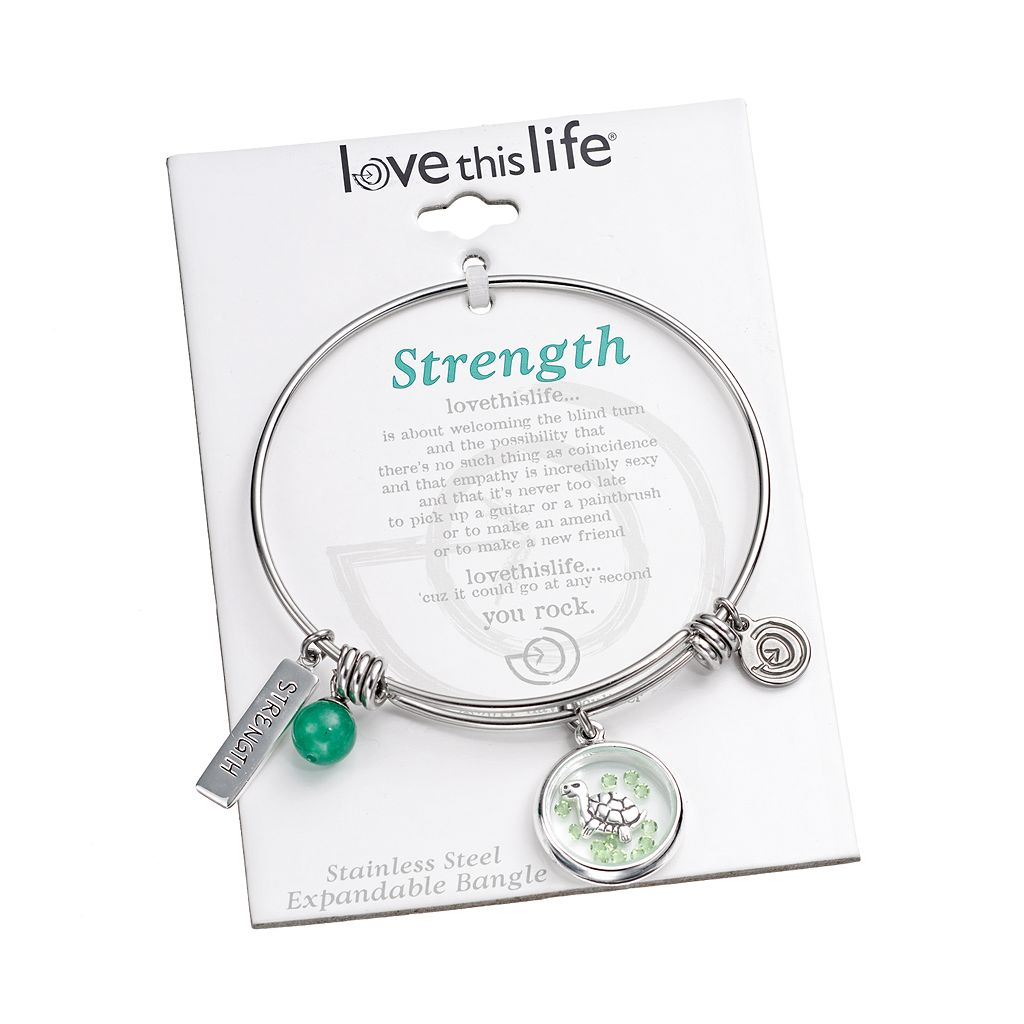 love this life Crystal and Aventurine Stainless Steel ''Strength'' Turtle Charm Bangle Bracelet