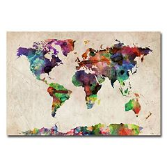 'Urban Water Color World Map' Canvas Wall Art