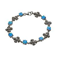 Tori Hill Simulated Blue Opal & Marcasite Sterling Silver Flower Bracelet