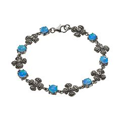 Tori Hill Simulated Blue Opal & Marcasite Sterling Silver Flower Bracelet
