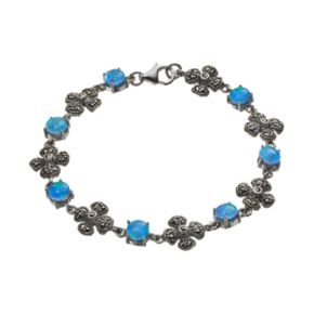 Tori Hill Simulated Blue Opal and Marcasite Sterling Silver Flower Bracelet