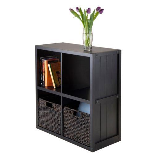 Winsome Timothy 3-piece 4-Cube Storage Shelf and Basket Set