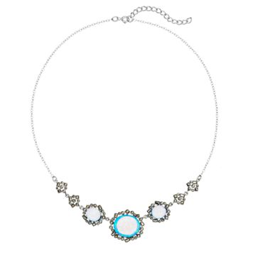 Tori Hill Simulated Blue Opal & Marcasite Sterling Silver Necklace