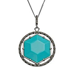 Tori Hill Simulated Turquoise & Marcasite Sterling Silver Geometric Pendant Necklace