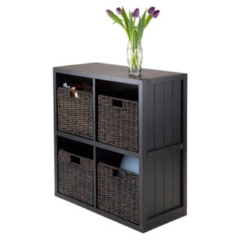 Winsome Timothy 5-piece 4-Cube Storage Shelf & Woven Basket Set