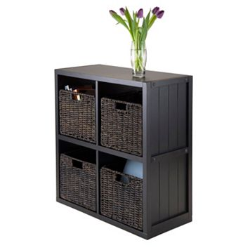 Winsome Timothy 5-piece 4-Cube Storage Shelf & Woven Basket Set