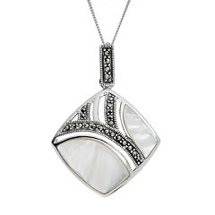 Tori Hill Mother-of-Pearl & Marcasite Sterling Silver Geometric Pendant Necklace