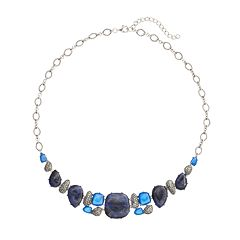 Tori Hill Blue Agate, Blue Sodalite & Marcasite Sterling Silver Geometric Necklace