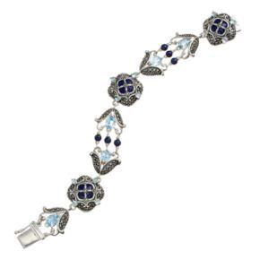 Tori Hill Blue Topaz, Lapis Lazuli and Marcasite Sterling Silver Bracelet