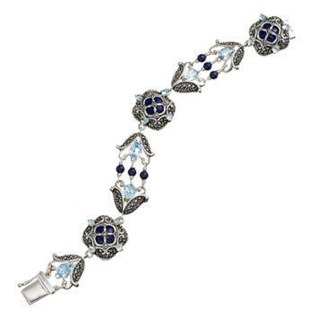 Tori Hill Blue Topaz, Lapis Lazuli & Marcasite Sterling Silver Bracelet