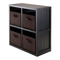 Winsome Timothy 5 pc 4-Cube Storage Shelf & Basket Set