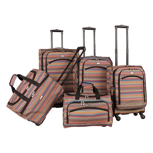 American Flyer Gold Coast 5-Piece Spinner Luggage Set
